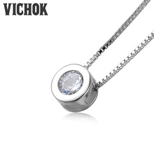 VICHOK hot sale real 925 Sterling Silver Necklace only theme round cute romantic jewelry for women lover party Gift Wedding