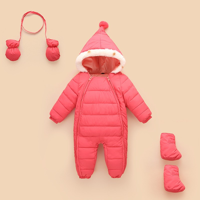Baby climb clothes wrapped feet cotton-padded  childrens clothing  male and female infant children  pure color thick clothes<br>