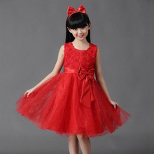 Retail Girls Dress Princess dress children's Party dress with bow girl wedding flower Baby girls dress free shipping 5031