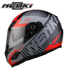 Free shipping 1pcs NENKI Touring Racing DOT Full Face Motocross Vintage Helmet Double Visor Lens Motorcycle Helmet(China)