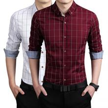 NFIVE2017 New Spring Men Cotton Korean Style Plaid Print Seven Color Long Sleeve High Quality Shirt Business Fat Fashion Shirt.(China)