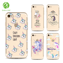 FEIHOO ELE Phone Cases For Iphone X 8 8P 7 7P 6s 6P 5s Unicorn Painted Series Transparent Silicone Soft TPU Phone Bags Cases(China)