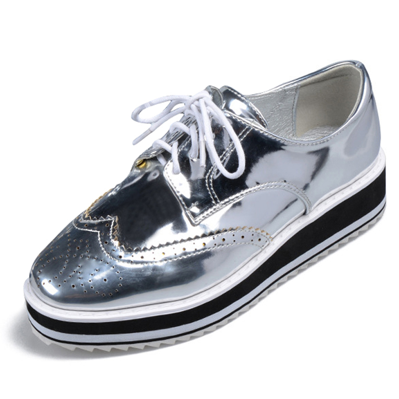 Xemonale Silver Oxfords Shoes Woman 2016 Platform Creeper British Style Women Brogue Shoes Lace-Up Flats High Quality XWD4806<br><br>Aliexpress