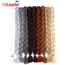 AliLeader Kanekalon Jumbo Braiding Hair Colors Black Light Grey Red Crochet Twist Hair 36 Inch 10 Packs African Synthetic Hair