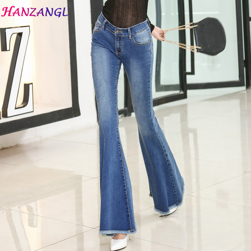 HANZANGL 2017 Spring Bell-bottom Jeans Female Slim Boot Cut High Waist Big Horn Denim Trousers Blue free shipping Одежда и ак�е��уары<br><br><br>Aliexpress