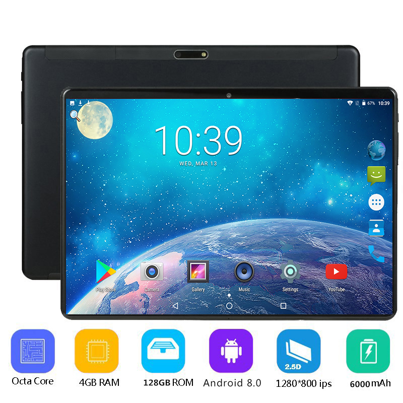 2019 New 10 inch Octa Core 3G 4G Tablet pc 4GB RAM 128GB ROM Dual Cameras Android 8.0 Tablets + 64g memory card gift(China)