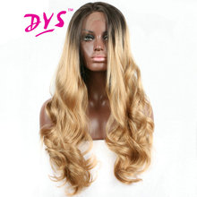 Deyngs 26-32inch Ombre Blonde Lace Front Wigs Long Body Wave Hair For Black Women Synthetic Lace Hairstyle With Natural Hairline(China)