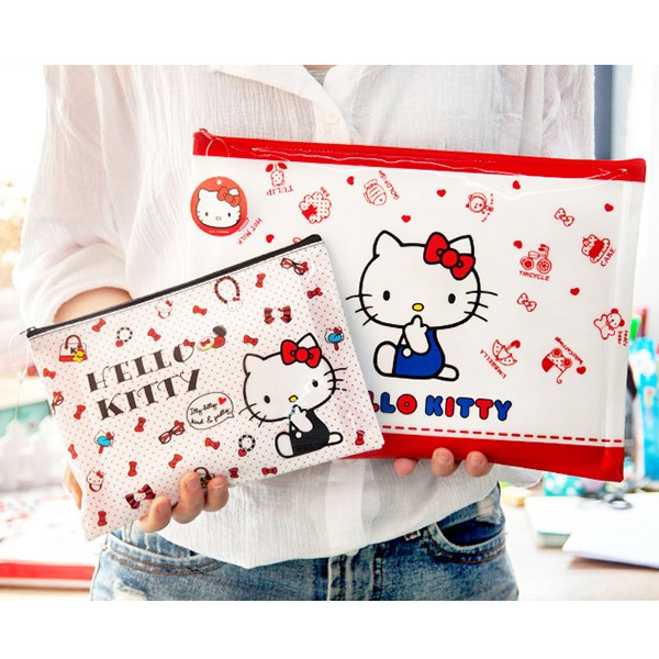 Sanrio Hello Kitty pouch KT cat A5/A4 zip file bag stationery bag(China (Mainland))