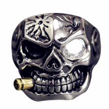 Skull Smoke bucket Ring Titanium Fashion accessories Men Ring Punk Exaggeration Impressive Cool rings Trend leader It's you(China)