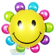 10pcs/lot smile sunflower balloon aluminum foil balloon birthday party supplies mylar air Balloon Valentine's Day, Wedding Party