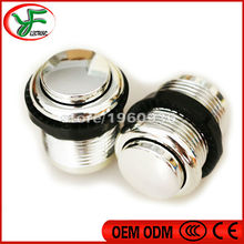 100pcs Chrome plated Push button 24mm Aracade start button With micro switch Black nut for slot machine jamma mame