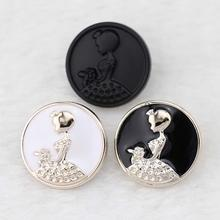 300PCS Wholesale Price 21MM Plastic Lady White/Black with Gold Edge Coat Buttons suit boots sewing clothes accessories(China)