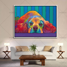 Canvas Painting Hand Painted Modern Wall Art Colourful Animal Lovely Puppy Dog 100% Handmade Oil Painting For Living Room Decor(China)