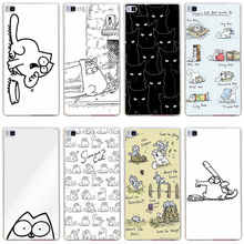 312GH Simons Cat Hard Transparent Cover for Huawei P7 P8 P8 P9 Lite Honor 4C 5C 6 7 8 Nova