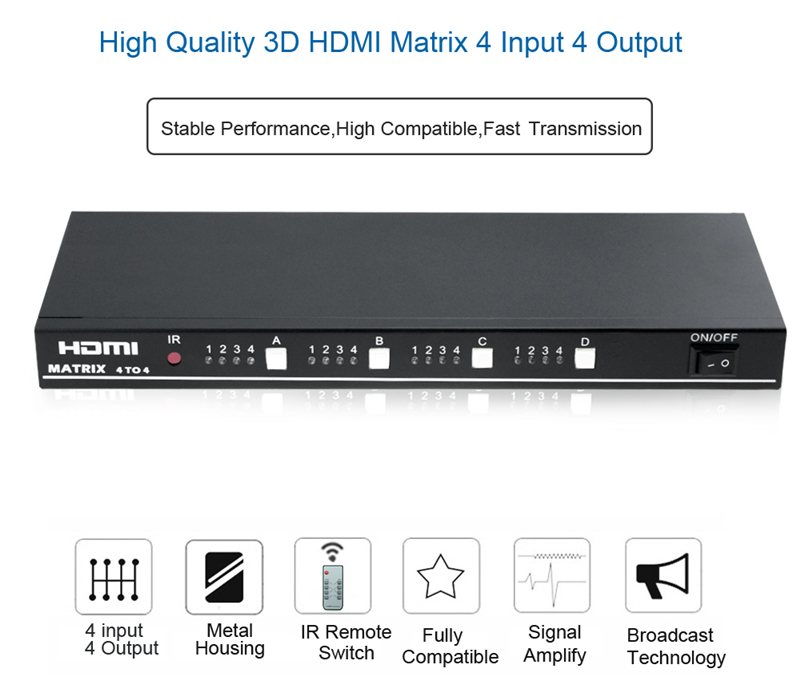 EMK 4x4 HDMI True Matrix 4 input 4 output HDMI Switch Splitter 1.3b support 1920x1080 60Hz with RS232 Remote Control Switch (11)