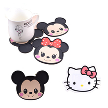 2Pcs Mickey & Minnie Hello Kitty silicone dining table placemat coaster kitchen bar accessories mug cup mats coffee drink pads