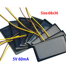 10pcs/pack 5V 60MA solar patch plastic plate polycrystalline solar panels solar DIY rechargeable battery chip(China)