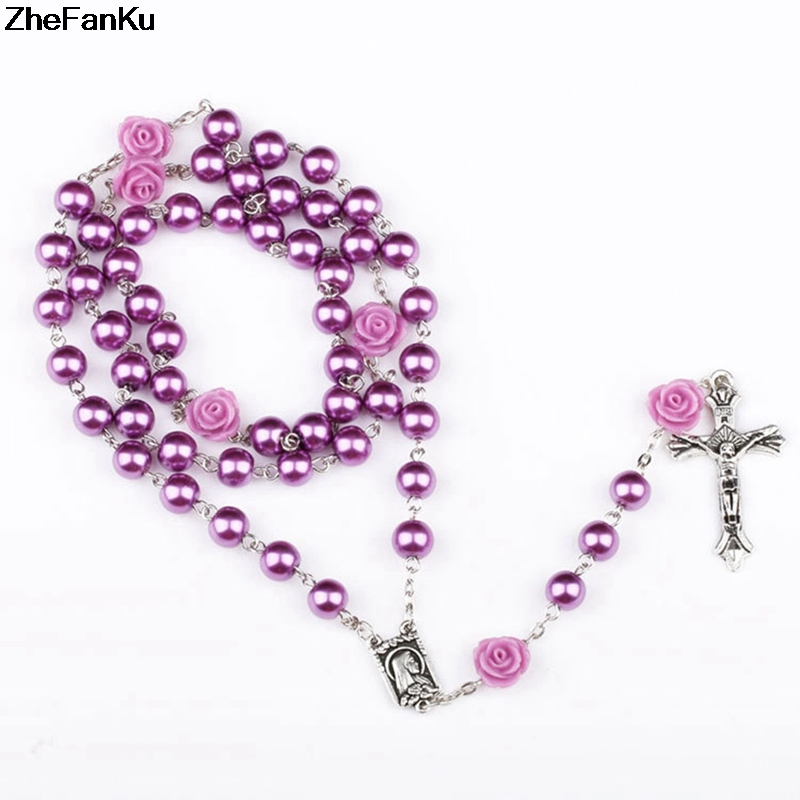 Large pink 8mm long Rosary beads necklace Catholic prayer silver chain gift