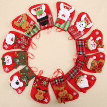 2017 New 6PCS/Set Christmas Stocking Xmas Cutlery Bag Pendant Cute Gift Bag Christmas Tree Decorations(China)