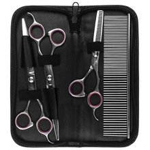 Pet Products Set for Dog Cat Grooming Tool Scissors Kits Curved Puppy Cat Dog Pet Hair Thinning Shears + Comb Products 50S1