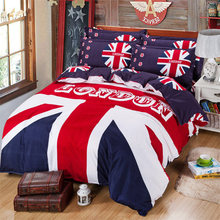 Famous UK Flag Queen size Bedding Set Kids Duvet Cover Sheet Bedspread Pillow Case housse de couette cama Brand home textile