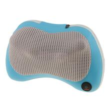 Blue Massager Pillow Shiatsu Kneading Neck Shoulder Massage with 4 Heated Balls for Car Home Office EU Plug(China)