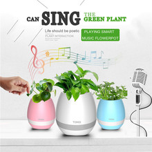 Newest Version K3 Colorful Night light Bluetooth Flower Pot Smart Speaker Can Play Piano Music Bluetooth Music Speaker Can Plant(China)