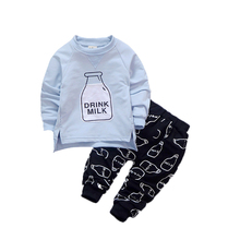 Kids Girl Clothing Sets Long Sleeve T-Shirt + Pants Autumn Children's Sports Suit Boys Clothes Kids Streetwear Clothes For Boys(China)