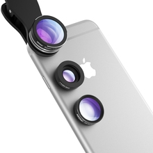Mpow 3 in 1 Professional Clip-On Camera Lens Kit 180 Degree Fisheye Lens + 0.65X Wide Angle + 10X Macro Lens for IPhones Samsung
