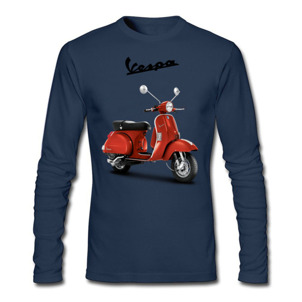Brand T Shirt vespa motorcycle scooter Vintage Men Tops Clothes Long Sleeve Tee T-Shirt Collar Male hombre camiseta Teeshirts