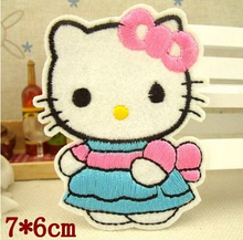 Free shipping 5pcs hallo kitty patch iron on patches ironing felt applique clothes embroidery Appliques garment  Sew On patches