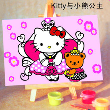 Handpainted  Framed 1Set DIY Digital Oil Painting By Numbers Hello Kitty Canvas Pictures For Kids Drawing Oil Painting