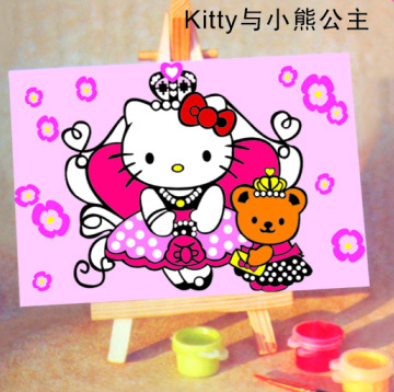 Handpainted Framed 1Set DIY Digital Oil Painting By Numbers Hello Kitty Canvas Pictures For Kids Drawing Oil Painting(China (Mainland))