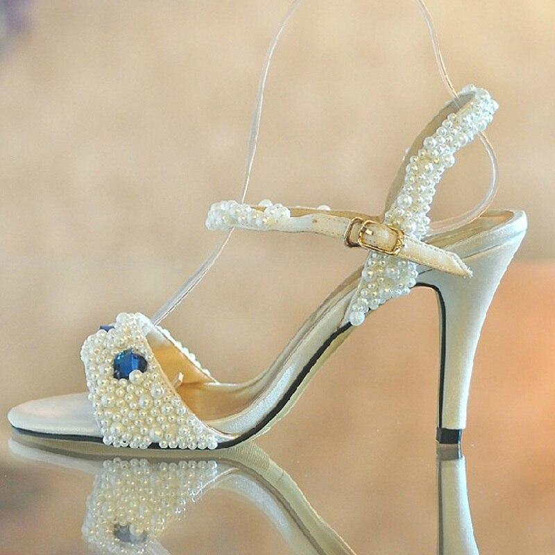 High Heels Sparking beading Pearl Rhinestone Sandal Prom Evening Party Dress Lady Women Bridal Wedding Shoes<br><br>Aliexpress