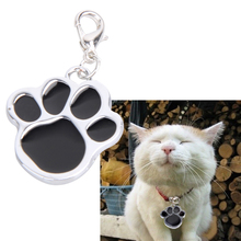 1pcs Personalized Pet Pendant Stainless Steel Footprint Pendant Pet Collars Charm Puppy Dog Glitter Paw Hanging Tag Lovely Gift(China)