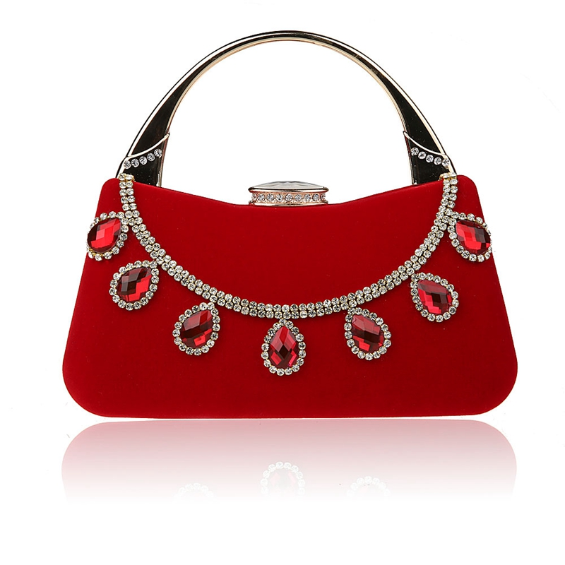 HOT 2016 Noble Red Lady Banquet Handbag Clutch Party Bridal Evening Bag Women with Shoulder Chain Makeup Bag Bolso F988-1B<br>