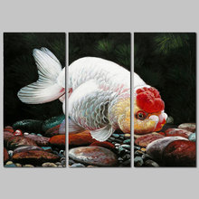3pcs Modern Animal Fish decoration red sliver gold pet goldfish wall art picture poster Canvas Painting for living room unframed