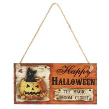 Happy HALLOWEEN THE MAGIC BROOM CLOSET Wooden Hanging Board Rectangle Hanging Wall Sign Decoration for Halloween Party(China)