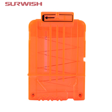 Surwish Soft Bullet Clips for Nerf Toy Gun 6 Bullets Ammo Cartridge Dart for Nerf Gun Clips - Transparent Orange(China)