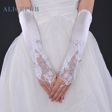 Lace Satin Fingerless Elbow Length Wedding Gloves Beading Sequin Bridal Accessories Women Evening Party Decoration Free Shipping