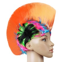 Rainbow Mohawk Hair Wig Rooster Fancy Costume Punk Rock Halloween Party Decor(China)