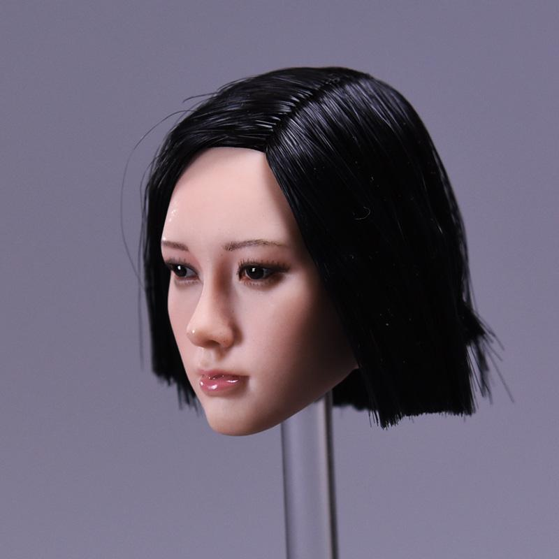 1/6 Asian Star Women Black Short Hair Head Sculpt Model<br>
