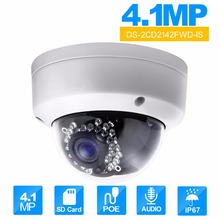 Hikvision DS-2CD2142FWD-IS 4MP POE IP Camera Day/night Infrared 3D DNR 3-axis adjustment IP67 IK10 Protection Security Camera