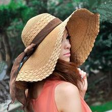 2015 Spring Wholesale and Retail Fashion Women Wide Large Brim Floppy Summer Beach SunHats Straw Cap with big bow Free Shipping(China)