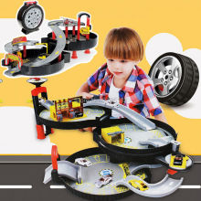 Kids City Parking Garage Toy Boys City Car Truck Vehicle Auto 2-3 Storey  Parking Orbit Track Spiral Roller Rail Alloy Vehicles