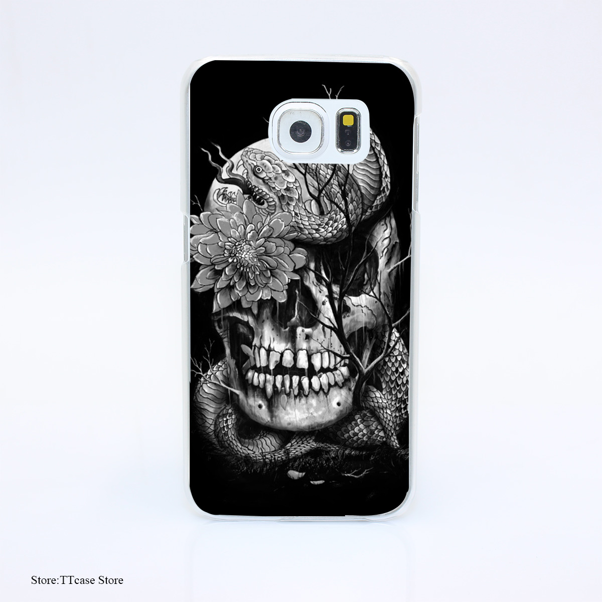 3047G Snake And Skull 6sr Print Hard Transparent font b Case b font Cover for Galaxy