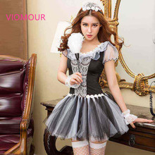 6257 Women Sexy Lingerie French Maid Room Service Costumes for Cute Maid Servant Steward Sexy Halloween Costumes for Women