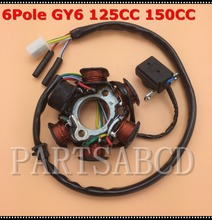 Magneto Stator 6 POLE GY6 125cc 150cc ATV Scooter Moped Go Kart Sunl Total Roketa Hammerhead Parts(China)