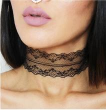 Black White Plain Lace Choker Necklace Gothic Vintage Wide Ribbon Handmade Neckless Jewelry Collar Nacklace For Women