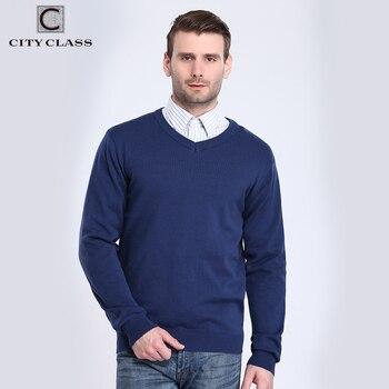 CITY CLASS 2017 Hommes V-cou Chandails Printemps Automne Solide Couleur Manches Longues Plus La Taille Coton Tricoté Chandail Pour Les Hommes 3560